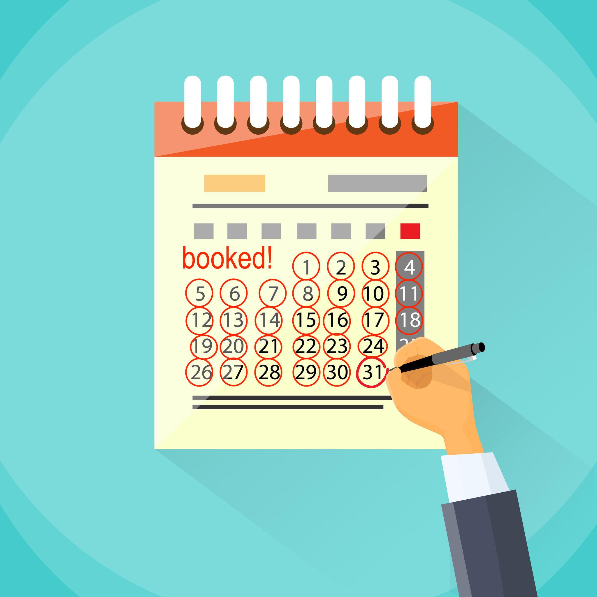 Booked Vacation Rental Calendar