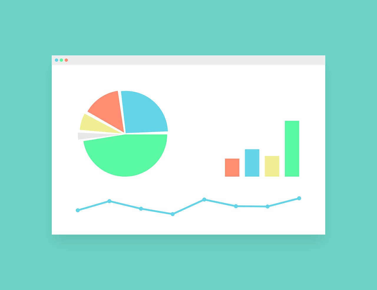 Pie Chart, Bar Graph, and Line Graph Graphic