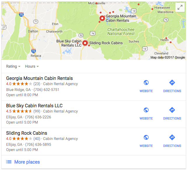 Example of What Local Listings Look Like in Search Results